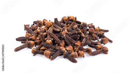 Leinwand Poster Dry clove isolated on white back ground.