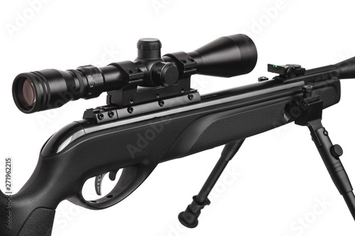 Poster Chasse Air rifle with a telescopic sight isolate on a white background. Pneumatic gun. Sports air rifle for accurate aiming shooting.