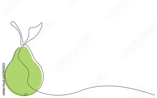 Slika na platnu Pear on white background, line drawing vector illustration