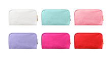 Blank Cosmetic Case Bags, Small Zip Bags Isolated On White Background