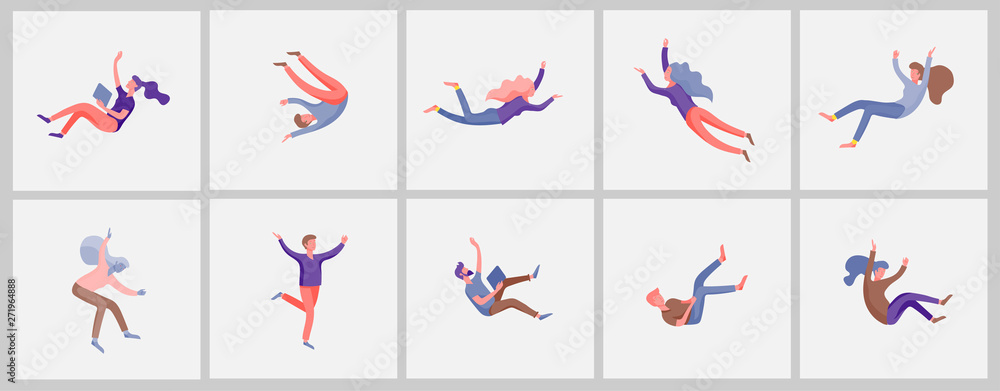 Fototapeta Inspired People flying in space and interacting with gadgets and papers. Characters set moving and floating in dreams, imagination and inspiration. Flat design style, vector illustration.
