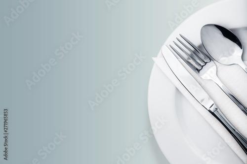 Fototapeta Silverware. Fork, spoon and knife isolated on white obraz
