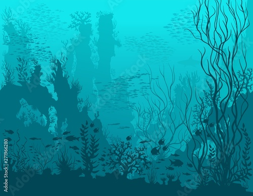 Foto auf AluDibond Turkis Underwater landscape with shark, fishes, coral reefs, huge rocks and see weeds. Blue tropical undersea world. Vector detail hand drawn illustration of sea-life.