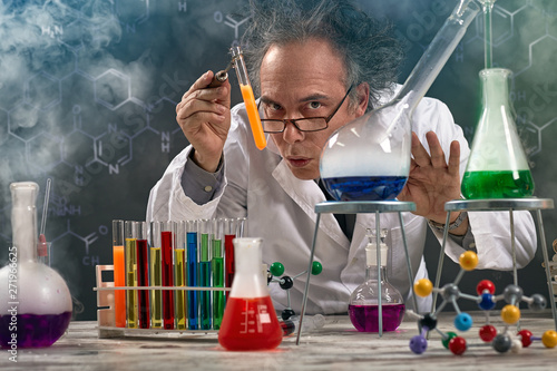 Wacky professor of chemistry experiment performed Poster Mural XXL