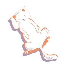 Cute Cat, Pet, Cartoon Character, Hand-drawn, Digital Drawing, Color Illustration In Vector