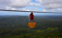 Couples Showing Their Everlasting Love (Love You Forever) By Attaching A Coloured Padlock To The Gerrards Lookout Iron Fence Of The  As A Token Of Love.