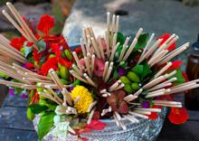 Flower Tributes At Wat Phu, Champasak, Laos