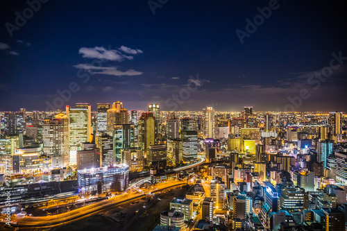 Aerial view of the Osaka cityscape at night from the observation platform at the Umeda sky building Canvas Print