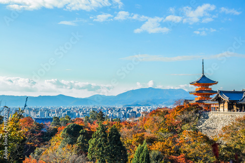 Poster Kyoto A stunning panoramic view of the Kyoto city with the colourful maple tree leaves and the pagoda at the foreground at Kiyomizu-dera.