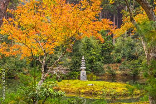 Photographie Beautiful autumn foliage garden at Kinkakuji temple in Kyoto, Japan