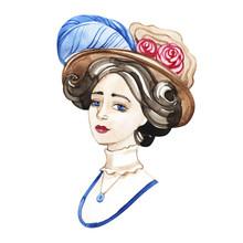 Retro Style Watercolor Portrait Of Pretty Young Woman. Elegant Vintage Lady.