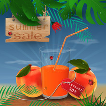 Background Illustration_22_on Tropical Leaf Background, Concept Design For Coupon, Ticket, Sale, Discount And Travel During Summer Vacation
