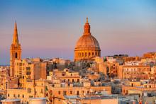 Malta. Valletta. Cathedral Of St. John At Sunset.