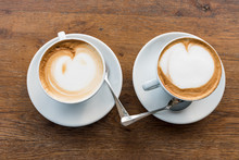 Pair Of Cappuccinos With Heart