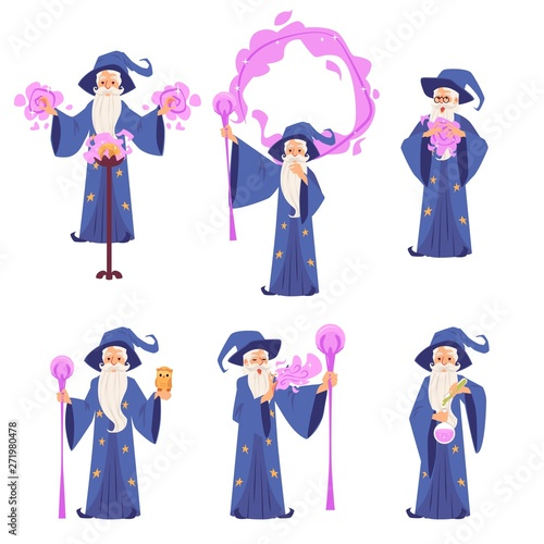 Photo  Set of wizard men in robe and hat stands making magic cartoon style