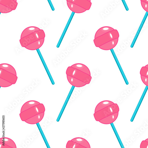 fototapeta na ścianę Seamless pattern with pink round lollipops isolated on white background. Cartoon retro style sweet candy vector wallpaper.