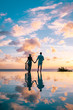 young couple at tropical beach St Lucia, couple on vacation on the tropical Island of Saint Lucia Caribbean