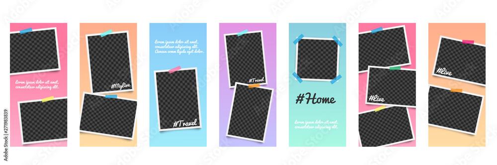 Fototapeta Set of realistic editable templates and photo frames for stories on social networks. - obraz na płótnie