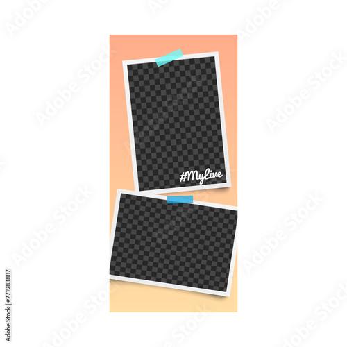 Fototapeta Realistic editable template and photo frame for stories on orange background. obraz na płótnie