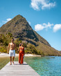 couple on vacation in St Lucia, men and woman walking on the beach Saint Lucia
