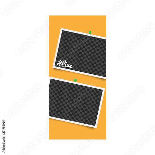 Fototapeta Photo frame for stories on social networks with hashtag live and pins on orange background. obraz na płótnie