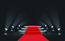 Empty Round Podium With Red Carpet Illuminated By Spotlights Realistic Style