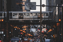 Train Driving Along Elevated Railway Track, Chicago, Illinois, United States