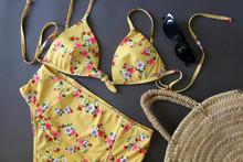 Feminine Yellow Floral Bathing...