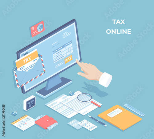 Online tax payment, mobile app  Filling tax form via computer  Hand