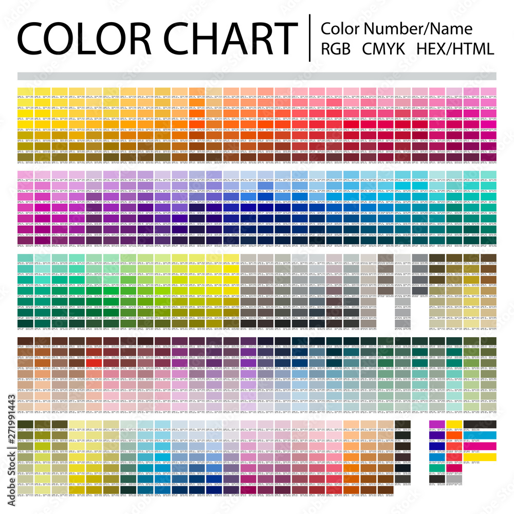 Fototapeta Color Chart. Print Test Page. Color Numbers or Names. RGB, CMYK, Pantone, HEX HTML codes. Vector color palette.