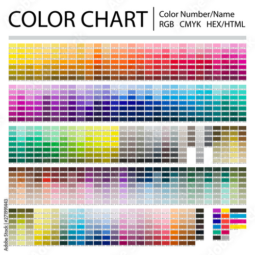Fototapeta Color Chart. Print Test Page. Color Numbers or Names. RGB, CMYK, Pantone, HEX HTML codes. Vector color palette. obraz