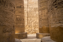 Close-up Of Wall Carvings, Great Hypostyle Hall, Karnak Temple, Karnak, Luxor, Egypt