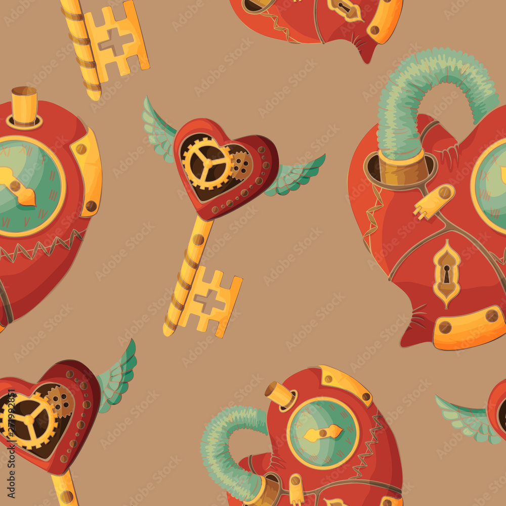 Seamless pattern steampunk hearts and keys on coffee background
