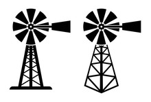 Vector Symbols Of Rural Windpump
