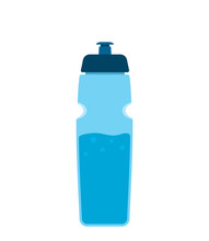 Colored Water Bottle For Sport And Fitness. Silhouettes Of Aqua Mineral Water Container. Flat Vector Illustration