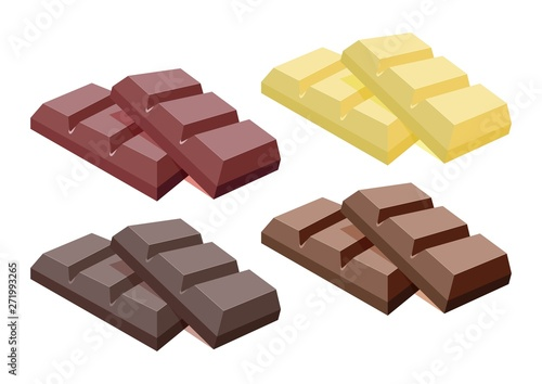 Fotomural vector collection of dark, milk and white chocolate
