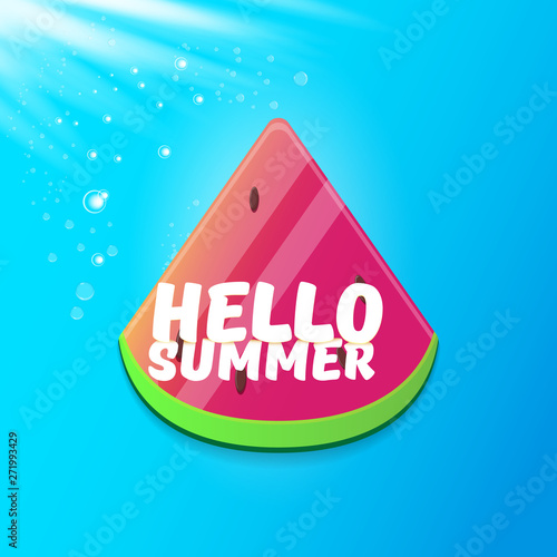 Staande foto Retro sign Vector Hello Summer Beach Party Flyer Design template with fresh watermelon slice isolated on blue sky background. Hello summer concept label or poster with fruit and typographic text