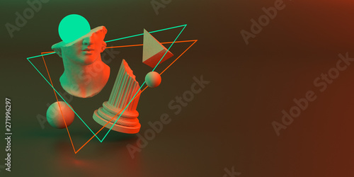 Fotografie, Obraz  3d-illustration of an abstract composition of sculpture and primitive objects