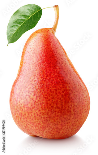 Red pear with green leaf isolated on white background. Pear and leaf with clipping path. Full depth of field.