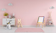 Leinwanddruck Bild - Drawing board and chair in pink child room interior for mockup, 3D rendering