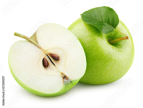 Ripe green apple fruit with half and green apple leaf isolated on white background. Green apples with clipping path. Full Depth of Field