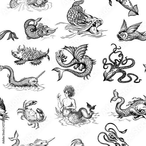 Mythological vintage sea monster Wallpaper Mural