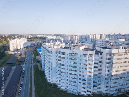 fototapeta na szkło City downtown horizon in sunny morning, aerial view.