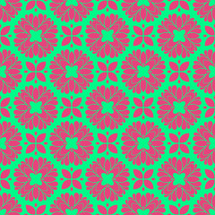 Pink and green retro pattern with geometric form