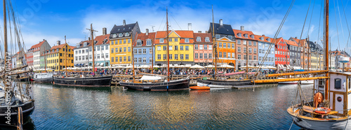 Photo panoramic view at nyhavn in copenhagen