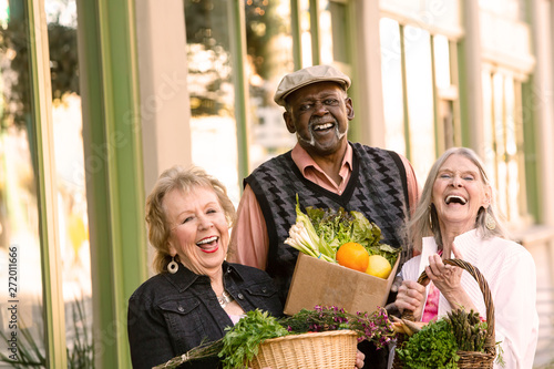Fotografie, Obraz  Laughing Seniors Returning from Farmers Market with Groceries