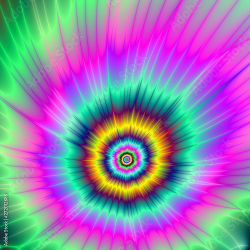 Poster Psychedelique Colorful Comet / An abstract fractal image with a tie dye effect depicting a colorful exploding comet in green, pink,turquoise, gold and blue.