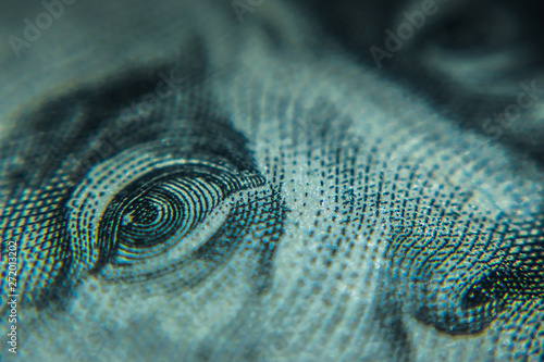Obraz Macro One Hundred Dollar Bills - fototapety do salonu