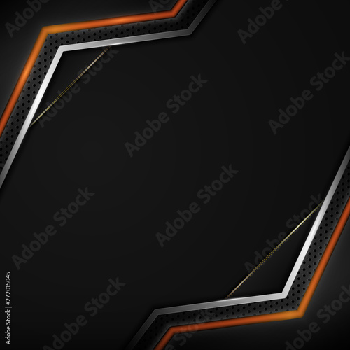 abstract black silver red frame layout design sports tech concept background Canvas Print