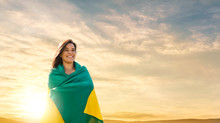 Woman With Brazilian Flag, Brazilian Fan